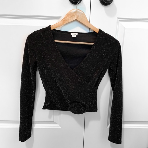 GARAGE Sparkly Black Long-Sleeve Top, Size S
